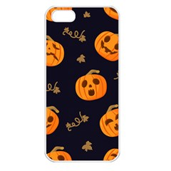 Funny Scary Black Orange Halloween Pumpkins Pattern Apple Iphone 5 Seamless Case (white)