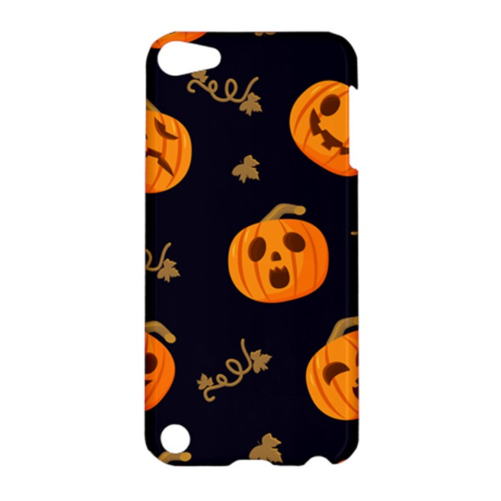 Funny Scary Black Orange Halloween Pumpkins Pattern Apple iPod Touch 5 Hardshell Case