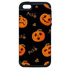 Funny Scary Black Orange Halloween Pumpkins Pattern Apple Iphone 5 Hardshell Case (pc+silicone)