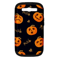 Funny Scary Black Orange Halloween Pumpkins Pattern Samsung Galaxy S Iii Hardshell Case (pc+silicone)