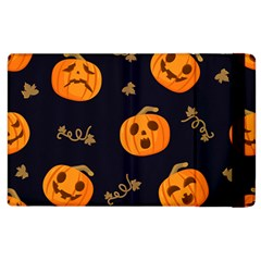 Funny Scary Black Orange Halloween Pumpkins Pattern Apple Ipad 2 Flip Case