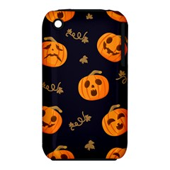Funny Scary Black Orange Halloween Pumpkins Pattern Iphone 3s/3gs