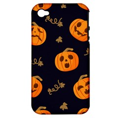 Funny Scary Black Orange Halloween Pumpkins Pattern Apple Iphone 4/4s Hardshell Case (pc+silicone)