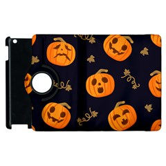 Funny Scary Black Orange Halloween Pumpkins Pattern Apple Ipad 2 Flip 360 Case