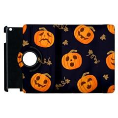 Funny Scary Black Orange Halloween Pumpkins Pattern Apple Ipad 3/4 Flip 360 Case