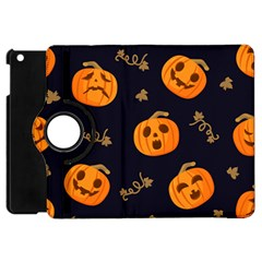 Funny Scary Black Orange Halloween Pumpkins Pattern Apple Ipad Mini Flip 360 Case
