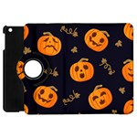 Funny Scary Black Orange Halloween Pumpkins Pattern Apple iPad Mini Flip 360 Case Front