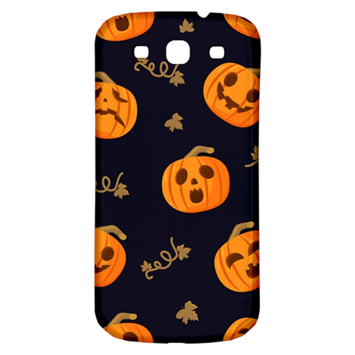 Funny Scary Black Orange Halloween Pumpkins Pattern Samsung Galaxy S3 S III Classic Hardshell Back Case