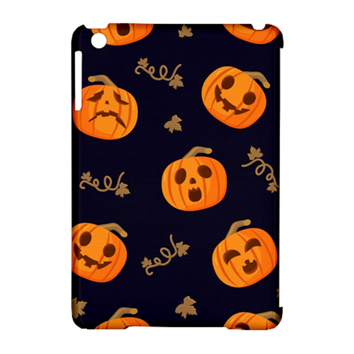 Funny Scary Black Orange Halloween Pumpkins Pattern Apple iPad Mini Hardshell Case (Compatible with Smart Cover)