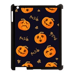 Funny Scary Black Orange Halloween Pumpkins Pattern Apple Ipad 3/4 Case (black)
