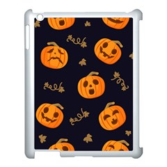 Funny Scary Black Orange Halloween Pumpkins Pattern Apple Ipad 3/4 Case (white)