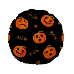 Funny Scary Black Orange Halloween Pumpkins Pattern Standard 15  Premium Round Cushions