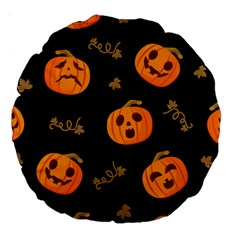 Funny Scary Black Orange Halloween Pumpkins Pattern Large 18  Premium Round Cushions