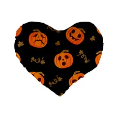 Funny Scary Black Orange Halloween Pumpkins Pattern Standard 16  Premium Heart Shape Cushions