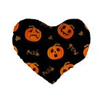Funny Scary Black Orange Halloween Pumpkins Pattern Standard 16  Premium Heart Shape Cushions Front