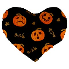 Funny Scary Black Orange Halloween Pumpkins Pattern Large 19  Premium Heart Shape Cushions