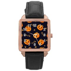 Funny Scary Black Orange Halloween Pumpkins Pattern Rose Gold Leather Watch
