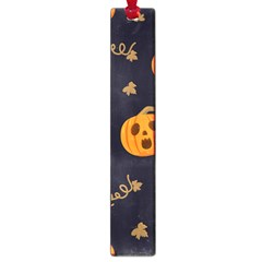 Funny Scary Black Orange Halloween Pumpkins Pattern Large Book Marks