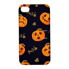 Funny Scary Black Orange Halloween Pumpkins Pattern Apple Iphone 4/4s Hardshell Case With Stand