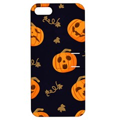 Funny Scary Black Orange Halloween Pumpkins Pattern Apple Iphone 5 Hardshell Case With Stand