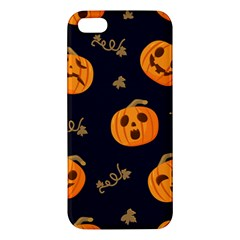 Funny Scary Black Orange Halloween Pumpkins Pattern Apple Iphone 5 Premium Hardshell Case