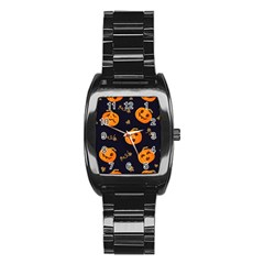 Funny Scary Black Orange Halloween Pumpkins Pattern Stainless Steel Barrel Watch