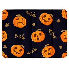 Funny Scary Black Orange Halloween Pumpkins Pattern Samsung Galaxy Tab 7  P1000 Flip Case by HalloweenParty