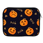 Funny Scary Black Orange Halloween Pumpkins Pattern Apple iPad 2/3/4 Zipper Cases Front