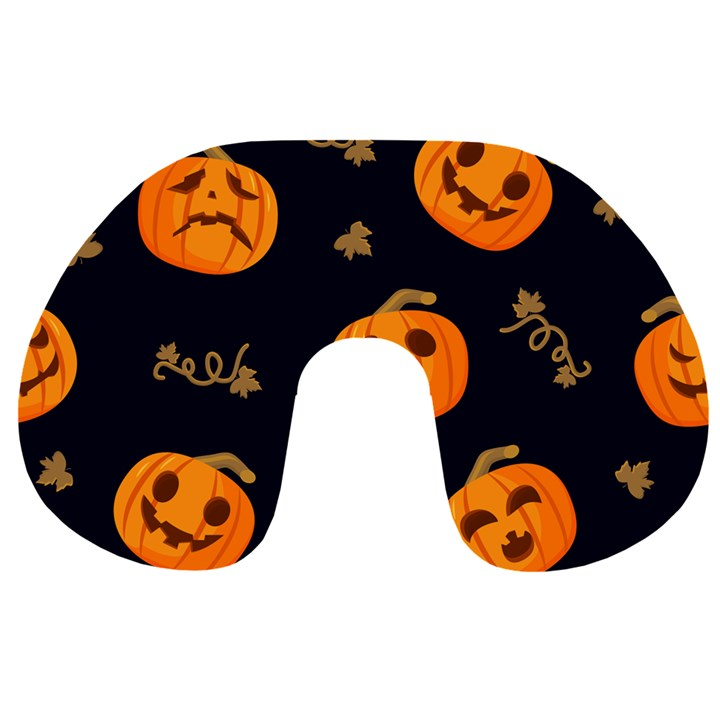 Funny Scary Black Orange Halloween Pumpkins Pattern Travel Neck Pillows