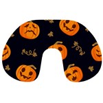 Funny Scary Black Orange Halloween Pumpkins Pattern Travel Neck Pillows Back