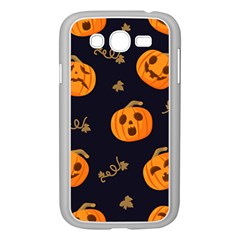 Funny Scary Black Orange Halloween Pumpkins Pattern Samsung Galaxy Grand Duos I9082 Case (white)