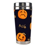 Funny Scary Black Orange Halloween Pumpkins Pattern Stainless Steel Travel Tumblers Left