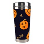 Funny Scary Black Orange Halloween Pumpkins Pattern Stainless Steel Travel Tumblers Center