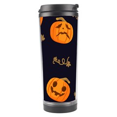 Funny Scary Black Orange Halloween Pumpkins Pattern Travel Tumbler