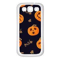 Funny Scary Black Orange Halloween Pumpkins Pattern Samsung Galaxy S3 Back Case (white)