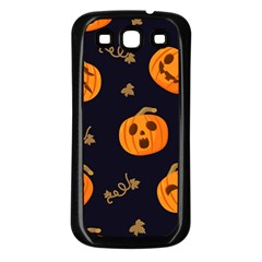 Funny Scary Black Orange Halloween Pumpkins Pattern Samsung Galaxy S3 Back Case (black)