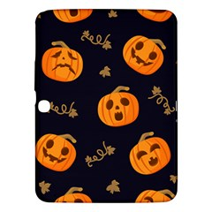 Funny Scary Black Orange Halloween Pumpkins Pattern Samsung Galaxy Tab 3 (10 1 ) P5200 Hardshell Case  by HalloweenParty