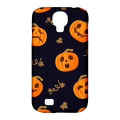 Funny Scary Black Orange Halloween Pumpkins Pattern Samsung Galaxy S4 Classic Hardshell Case (pc+silicone)