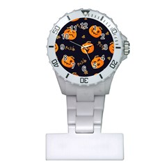 Funny Scary Black Orange Halloween Pumpkins Pattern Plastic Nurses Watch