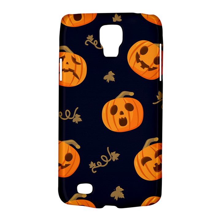 Funny Scary Black Orange Halloween Pumpkins Pattern Samsung Galaxy S4 Active (I9295) Hardshell Case