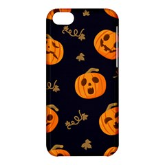 Funny Scary Black Orange Halloween Pumpkins Pattern Apple Iphone 5c Hardshell Case