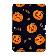 Funny Scary Black Orange Halloween Pumpkins Pattern Samsung Galaxy Tab 2 (10 1 ) P5100 Hardshell Case