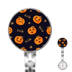 Funny Scary Black Orange Halloween Pumpkins Pattern Stainless Steel Nurses Watch
