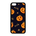 Funny Scary Black Orange Halloween Pumpkins Pattern Apple iPhone 5C Seamless Case (Black) Front