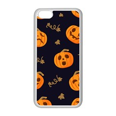 Funny Scary Black Orange Halloween Pumpkins Pattern Apple Iphone 5c Seamless Case (white)