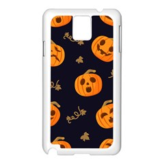 Funny Scary Black Orange Halloween Pumpkins Pattern Samsung Galaxy Note 3 N9005 Case (white)