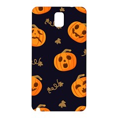 Funny Scary Black Orange Halloween Pumpkins Pattern Samsung Galaxy Note 3 N9005 Hardshell Back Case