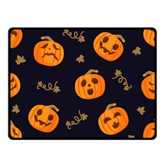 Funny Scary Black Orange Halloween Pumpkins Pattern Double Sided Fleece Blanket (small)