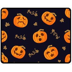 Funny Scary Black Orange Halloween Pumpkins Pattern Double Sided Fleece Blanket (medium)