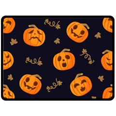 Funny Scary Black Orange Halloween Pumpkins Pattern Double Sided Fleece Blanket (large)